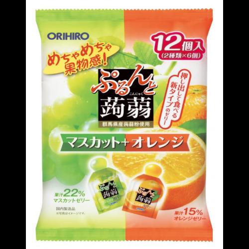 일본 오리히로 곤약젤리 청포도+오렌지 1봉지 (12개입)