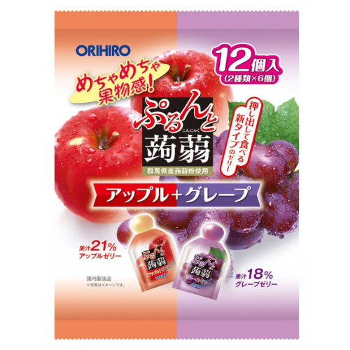 일본 오리히로 곤약젤리 사과+포도 1봉지 (12개입)