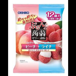 일본 오리히로 곤약젤리 복숭아+리치 1봉지 (12개입)