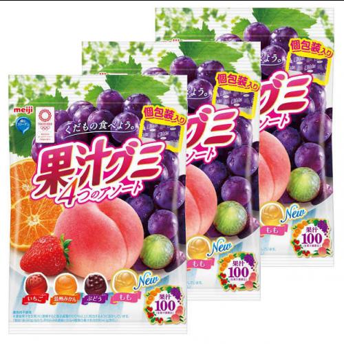 메이지 과즙 젤리 귤&딸기&복숭아 1세트(3개)