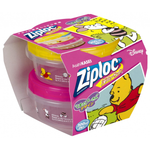 (한정) Ziploc 용기 곰돌이 푸우 300ml 2개입